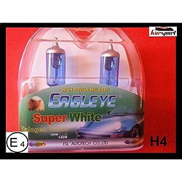Bombillas/Lamparas H4 12V 60/55W halogenas luz blanca efecto xenon (2 unidades, marca Eagleye). Vienen en estuche.: Amazon.es: Coche y moto