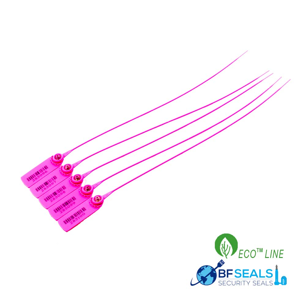 BFSEALS Pull-Tight Eco-Plastic Security Seal 15'', 200 Pcs, Correlative Numbered, Pink Color by BFSEALS