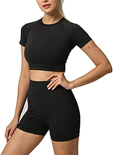 Womens Stretchy Cropped Top+Shorts Sports Cycling Fitness Co Ord Set Tracksuit