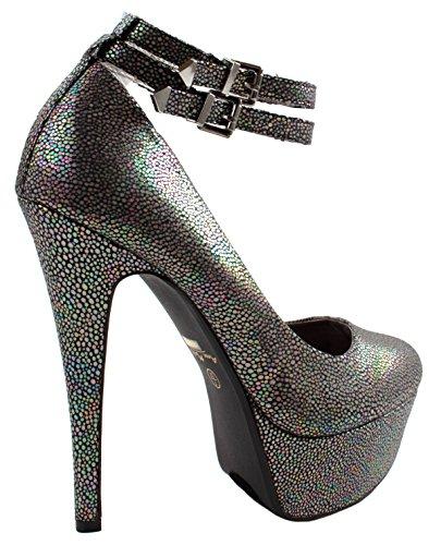 Anne Michelle Shoes Womens Realove-05 Nub Stiletto Pompe Tacco Alto Con Due Braclets Fibbia Alla Caviglia Blackfab