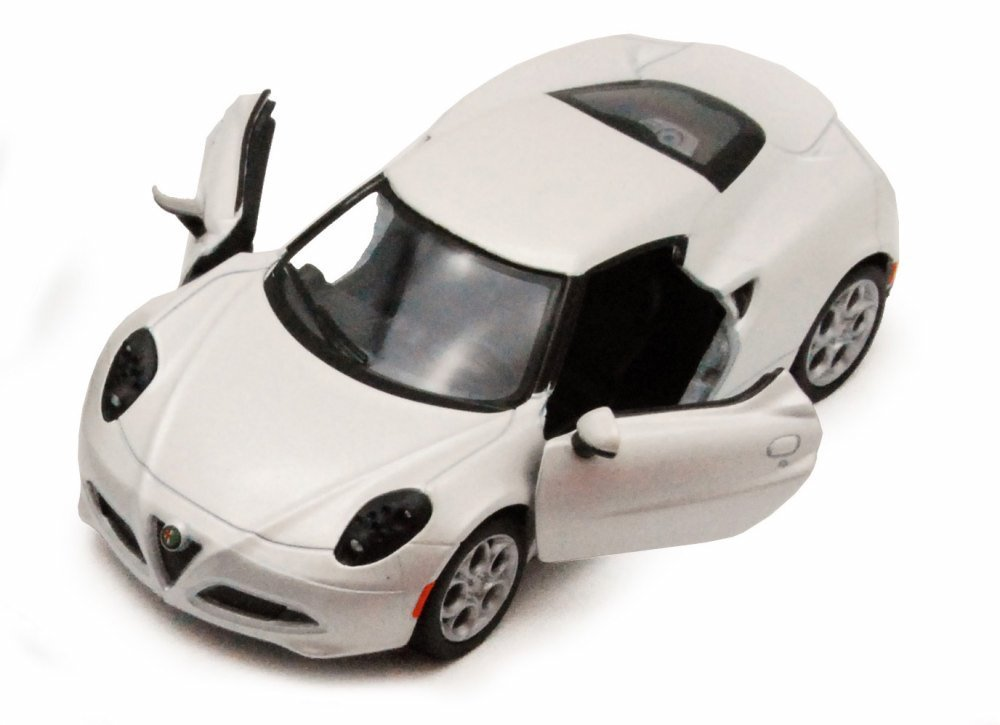 Kinsmart 2013 Alfa Romeo 4C, White 5366D - 1/32 scale Diecast Model Toy Car, but NO BOX