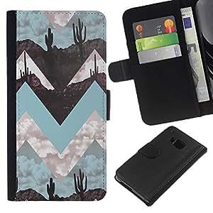 KingStore / Leather Etui en cuir / HTC One M9 / Paisaje Arte Minimalista trullo