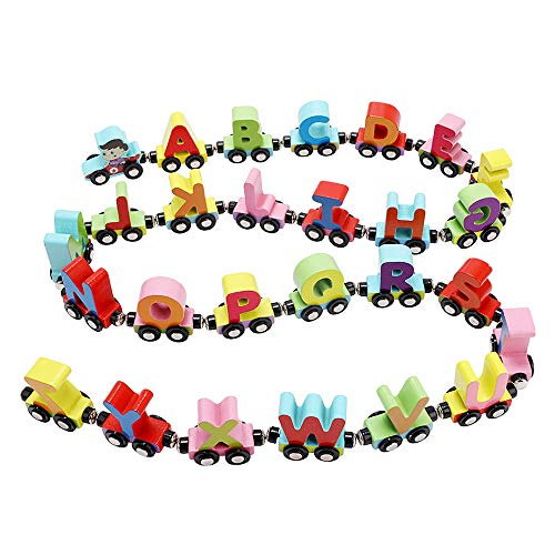 Wooden Train Set 27 PCS - Magnetic Train Cars Alphabets/Numbers/Insect Set Includes 1 Engine - Toy Train Sets for Kids Toddler Boys and Girls - Preschool Early Educational Toys