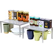 SimpleHouseware Expandable Stackable Kitchen Cabinet and Counter Shelf Organizer, Silver