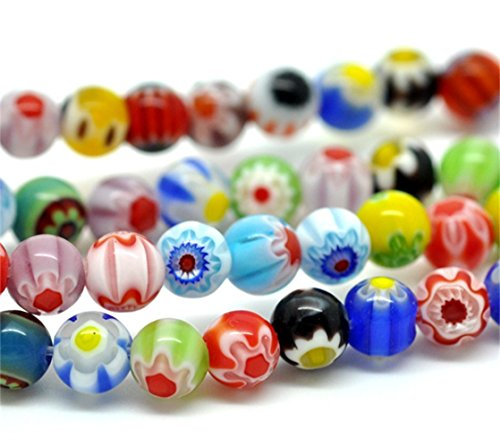 YC 5 Strands Mixed Millefiori Flower Glass Lampwork Round Beads (Gorgeous Glass Strand Necklace)