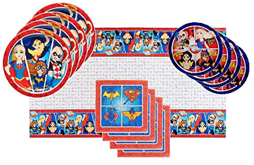 Harley Quinn Party Supplies (DC Super Hero Girls Party Supplies Tableware Bundle Pack for 16 Guests - Includes 16 Dinner Plates, 16 Dessert Plates, 16 Dinner Napkins, and 1)