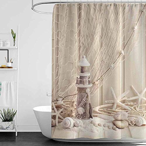 (Shower Curtains for Bathroom sage Fishing Net Decor,Marine Theme Sea Stars and Shells Underwater Life Wooden Lighthouse,Beige Cream,W48 x L72,Shower Curtain for Small Shower stall)