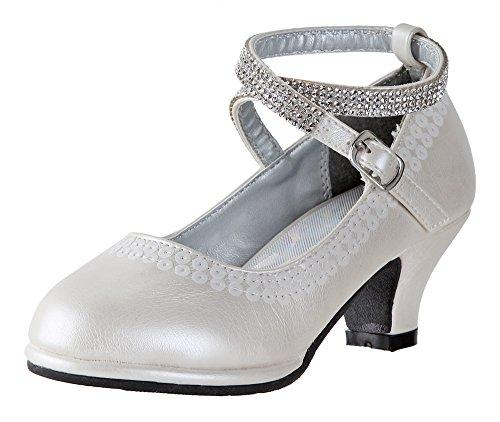 Little Angel - Tasha Heels for Girls | Dress Shoe | Holiday Shoe | Adjustable Ankle Strap | Comfortable Heels | Toddler | Little Girl | Big Girl | Ivory US 1 ()
