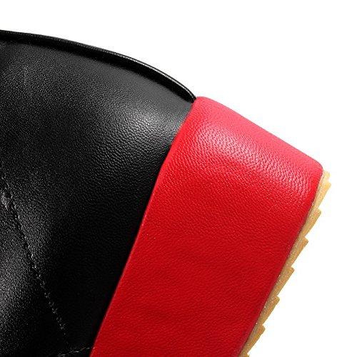 Amoonyfashion Dames Ronde Dichte Neus Lage Hakken Pu Korte Stevige Solide Laarzen Met Bandage En Strik Zwart