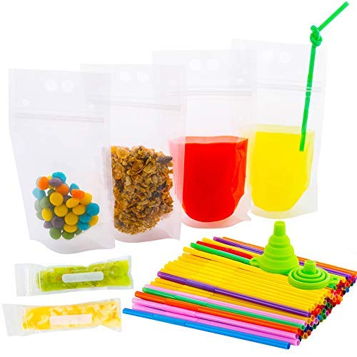 Unique 176-Pcs Reusable Drink Pouches with Double Zipper for Smoothie Bags - Straws and Popsicle Bags and Silicone Funnel +Ebook | Food and Juice Clear Container | Disposable and Non-Toxic, BPA Free