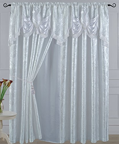 Jacquard Polyester Valance - All American Collection New 2 Panel Jacquard-Like Polyester Curtain with Attached Valance and Sheer Backing (110