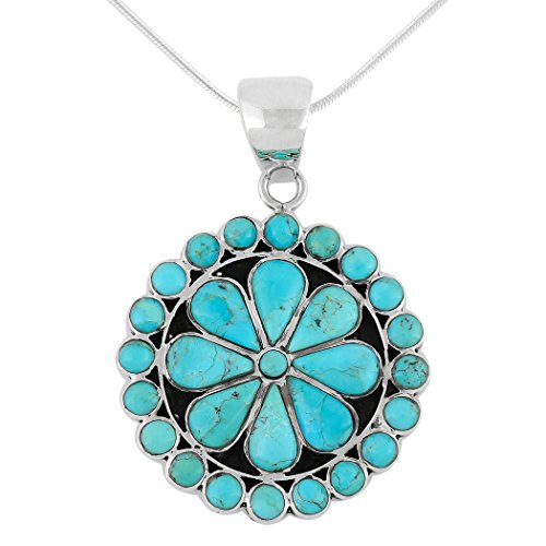 Turquoise Pendant Necklace 925 Sterling Silver Genuine Gemstones (Turquoise)
