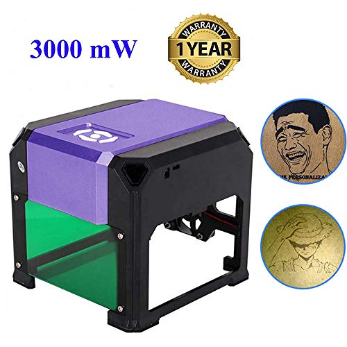 Laser Engraving Machine, 3000mW Mini Desktop Laser Engraver Printer with Carver Size 80 x 80mm, High Speed Laser Engraving Cutter for Wood, Plastic, Bamboo, Rubber, Leather