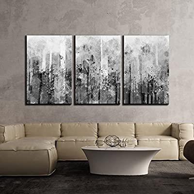 Created By a Professional Artist, Dazzling Piece, Abstract Black and White Splash Artwork x3 Panels