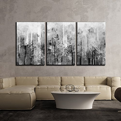 wall26 - 3 Piece Canvas Wall Art - Abstract Black and White Splash Artwork - Modern Home Decor Stretched and Framed Ready to Hang - 24
