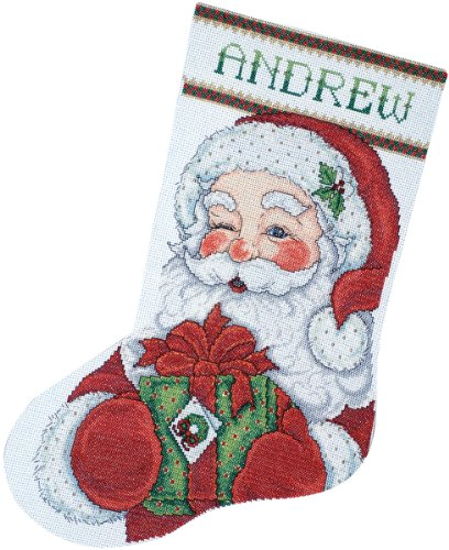 Tobin DW5959 14 Count Winking Santa Stocking Counted Cross Stitch Kit, 17-Inch -