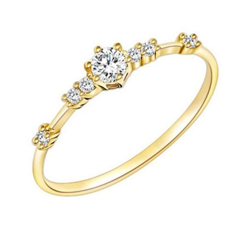 Sunyastor Sterling Silver Round White Diamond Ladies Bridal Promise Engagement Ring Eternity Thin Rings Wedding Jeweller