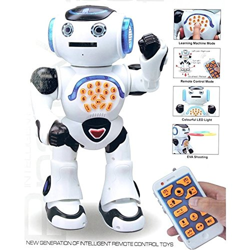 Top Race Remote Control Walking Talking Toy Robot, Dances, Sings, Reads Stories, Math Quiz, Shooting Discs, and Voice Mimicking.]()
