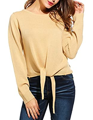 JQstar Women's Long Sleeve Round Neck Plus Size Knot Front Top Pullover Sweater
