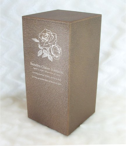 PERSONALIZED Engraved Roses Cremation Urn for Human Ashes -Made in America- Handcrafted in the USA by Amaranthine Urns, Adult Funeral Urn -Eaton DL- (up to 200 lbs living weight) (Cast Bronze)
