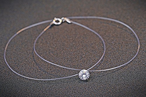 LOCHING 925 Silver One Pearl Zircon Solitaire Choker Invisible Fishing Line Necklace (Zircon) by LOCHING (Image #5)