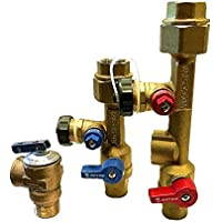 Matsui 3/4 inch, 3/4 Isolation Valve Kit with Pressure Relief Valve for Tankless Water Heater, FNPT x Sweat, compatible with Rinnai, Jacuzzi, Rheem, Navien, Noritz, Takagi, Bosch,etc