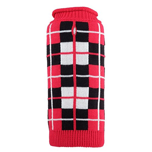 Oxford Plaid Sweater, Red, L