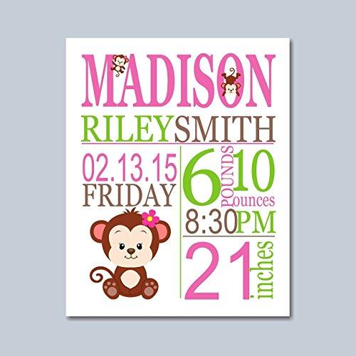Monkey Birth Print, Monkey Birth Stats, Monkey Birth Announcement, Monkey Baby Gift, Monkey Nursery Decorations, Monkey Nursery Wall Art, Girl Monkey Baby Gift- UNFRAMED PRINTS(NOT CANVAS)
