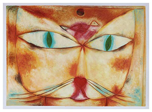 Cat and Bird - Paul Klee hand-painted oil painting reproduction,lovely abstract animals,kids room wall art,children drawing room - Klee Abstract Painting