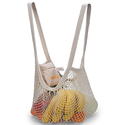 DimiDay Cotton Net Shopping Tote Ecology Market String Bag Organizer-for Grocery Shopping & Beach, Storage, Fruit, Vegetable (Middle-Size(Long Handle), (Mesh Purse)