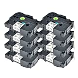 NineLeaf 8 Pack Label Tape Black on White Compatible for Brother tz241 tze241 tze-241 P-Touch 3/4
