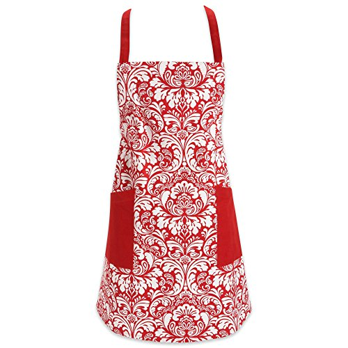 DII Cotton Adjusatble Women Kitchen Apron with Pockets and Extra Long Ties, 37.5 x 29, Cute Apron for Cooking, Baking, Gardening, Crafting, BBQ-Damask Tango Red