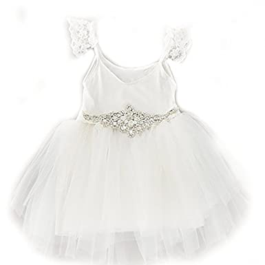 Amazon pearl white flower girl party lace tutu dress w pearl white flower girl party lace tutu dress w rhinestone belt dress 3t mightylinksfo