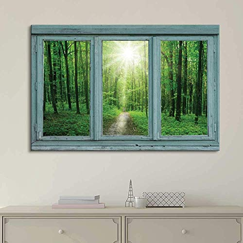 Vintage Teal Window Looking Out Into a Green Forest and The Sun