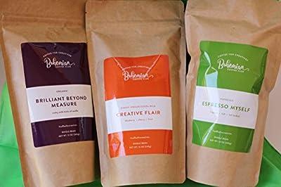 Bohemian Coffee Club PREMIUM BUNDLE LARGE Whole Bean Fresh Roasted (three 12 oz size bags) Coffee