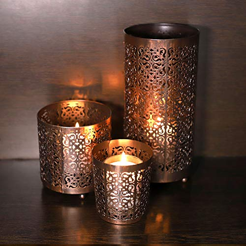 KRIXOT Candle Holders Set of 3 in Metallic Bronze with Beautiful Flickering Reflections | Complimentary 3 Glass Votive Candles | Ideal for Gifting, Home Decor and Wedding Decorations (3 Votive Holders)