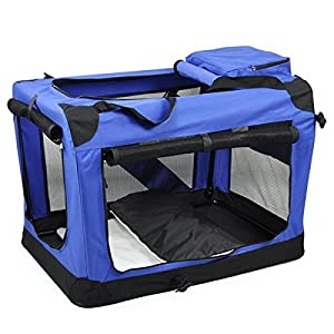 Yaheetech Folding Cat Dog Pet Carrier for Indoor Home & Outdoor Use Carrier with Straps