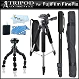 Tripod Kit Includes 57'' Tripod + 67'' Monopod + 7'' Flexible Tripod + More For Fuji Fujifilm Finepix X-Pro1, X-Pro 1, HS10 HS20 S4000 S3400 S3300 S3200 S2950 S2800 S2500 S2550HD AX380 AX350 AX300, S9800, S9900W, X-A2, X-A1, X-T1, XQ2, X30 Digital Camera