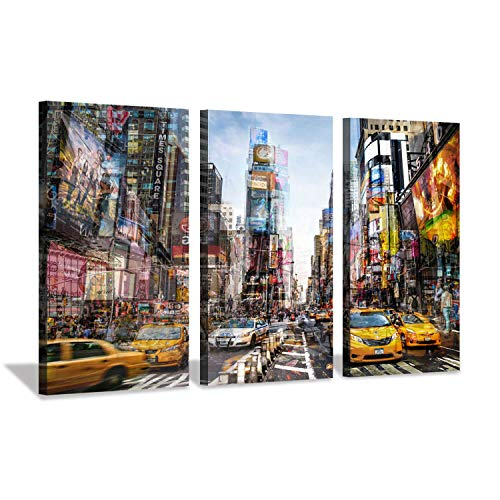 Hardy Gallery Abstract Painting Cityscape Artwork Picture: Taxi in NY Times Square City Streets Graphic Art on Canvas, 3 Piece Wall Decor