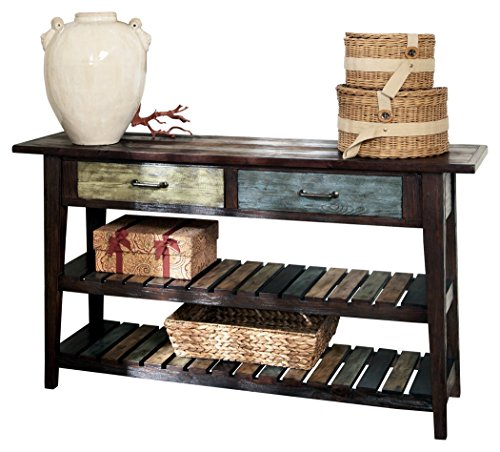 Ashley Furniture Signature Design - Mestler Sofa Table - Rustic Style Entertainment Console - Rectangular - Brown with Multi Colored Shelves (Reclaimed Furniture Wood Stores)