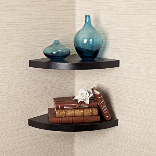 danya b. laminated corner radial shelves (set of 2) - black