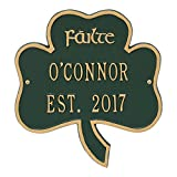 Personalized Indoor/Outdoor Irish Shamrock Name/Address Plaque Sign featuring the Gaelic Welcome Failte (Green Gold)