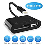 SD Card Reader, 3 in 1 Lightning to USB Camera Connection Kit Memory Card SD/TF Card Reader, Trail Game Camera SD Card Reader, Lightning to USB 2.0 Female OTG Adapter Cable for iPhone and iPad series