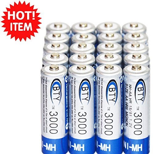Battery 3000mah rechargeable 20 pcs x aa bty ni-mh 1.2v us fast ship rechargeable times up to 1000 - To Amazon Ship Singapore