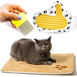 Vangardio Thermal Pet Mat - Self Warming Heating Pad Cushion Bed for Cats and Dogs - Grooming Glove and Hair Comb included - Perfect 3 in 1 Bundle Set for Your Pet Happiness