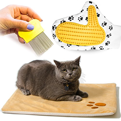 vangardio Thermal Mat - Self Warming Heating Pad for Pets Cat and Dog Bed - Grooming Glove and Hair Comb included - Perfect 3 in 1 Bundle Gift Set (20.8x15.1inch) ()