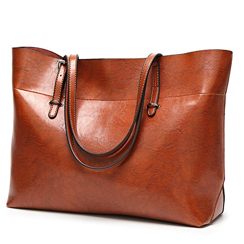 Women's Leather Work Tote Large Shoulder Bag Top Handle Handbag Zipper Closure Wide Brown by H.Tavel