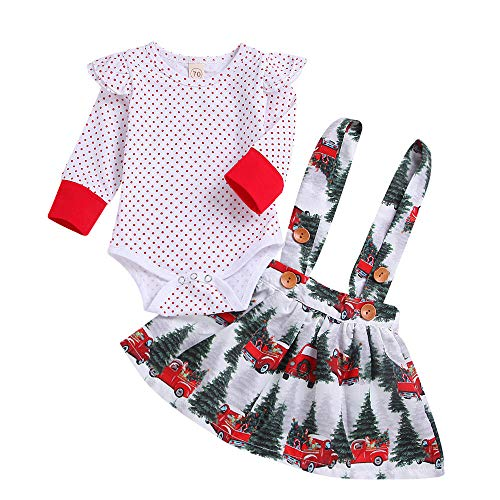 LNGRY Baby Outfits,Toddler Infant Kid Girls Ruffle Polka Dot Romper+Car Tree Tutu Skirts Christmas Set (0-6 Months, White) ()