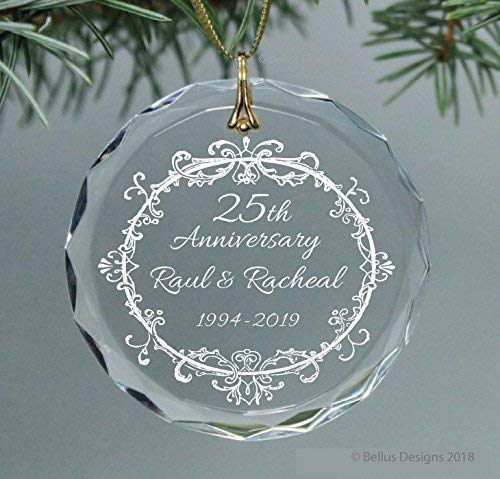 (50th, 25th, 60th or ANY Wedding Anniversary Year Keepsake Vintage Wreath Christmas Ornament Circle Glass Optic Crystal Personalize with names and years)