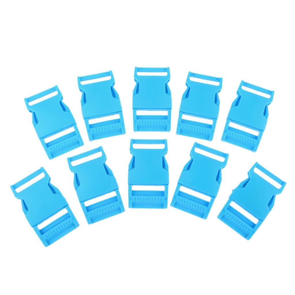 perfk 10pcs Kunststoff Seitenschnallen Rucksack Ersatzteil für 25mm Gurtband - Blau